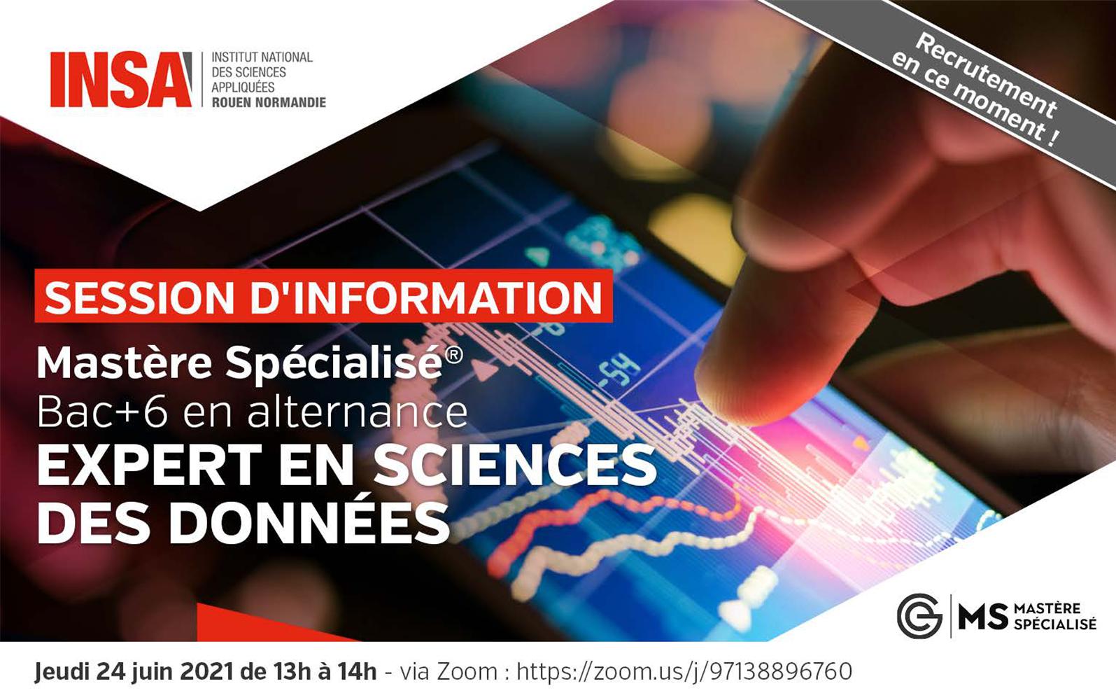 [#DataScientist en alternance en 2021 – RNCP @insarouen] Presentation sur Zoom le 24 juin 2021 à 13h – MS Expert en Sciences des Données de l'INSA Rouen